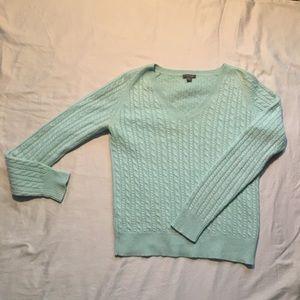 Cashmere V-neck sweater.